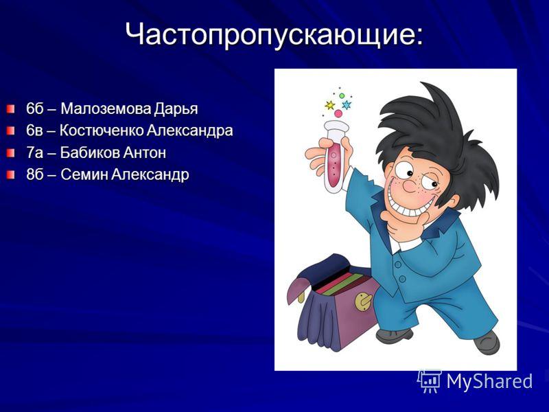 Частопропускающие: 6б – Малоземова Дарья 6в – Костюченко Александра 7а – Бабиков Антон 8б – Семин Александр