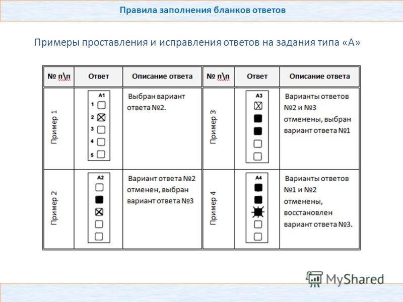 Правила заполнения бланков ответов Примеры проставления и исправления ответов на задания типа «А»