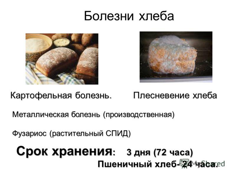 Болезни хлеба Картофельная болезнь. Плесневение хлеба Плесневение хлеба Металлическая болезнь (производственная) Фузариос (растительный СПИД) Срок хранения : 3 дня (72 часа) Пшеничный хлеб- 24 часа. Пшеничный хлеб- 24 часа.