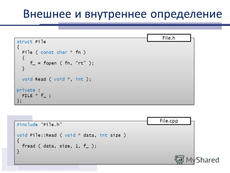 Внешнее и внутреннее определение struct File { File ( const char * fn ) { f_ = fopen ( fn, rt ); } void Read ( void *, int ); private : FILE * f_ ; }; struct File { File ( const char * fn ) { f_ = fopen ( fn, rt ); } void Read ( void *, int ); privat