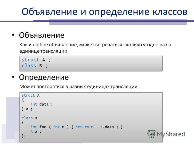 Объявление и определение классов Объявление Как и любое объявление, может встречаться сколько угодно раз в единице трансляции Определение Может повторяться в разных единицах трансляции struct A ; class B ; struct A ; class B ; struct A { int data ; }