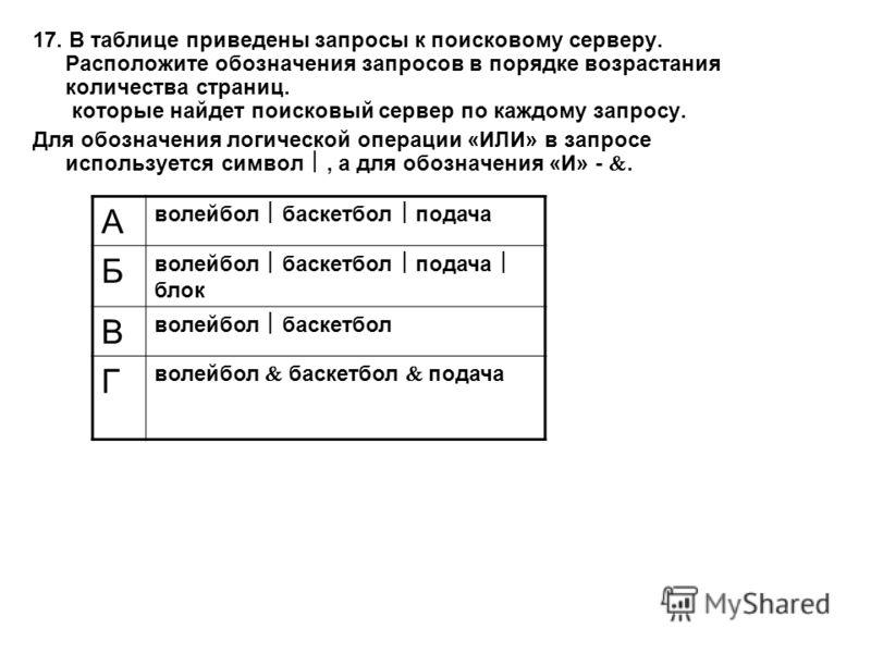17. В таблице приведены запросы к поисковому серверу. Расположите обозначения запросов в порядке возрастания количества страниц. которые найдет поисковый сервер по каждому запросу. Для обозначения логической операции «ИЛИ» в запросе используется симв