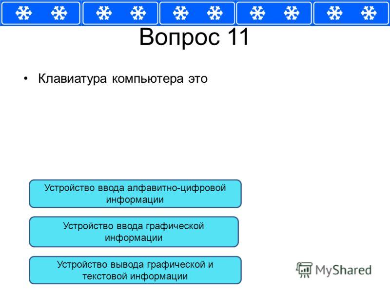 Вопрос 11 Клавиатура компьютера это Устройство ввода алфавитно-цифровой информации Устройство ввода графической информации Устройство вывода графической и текстовой информации