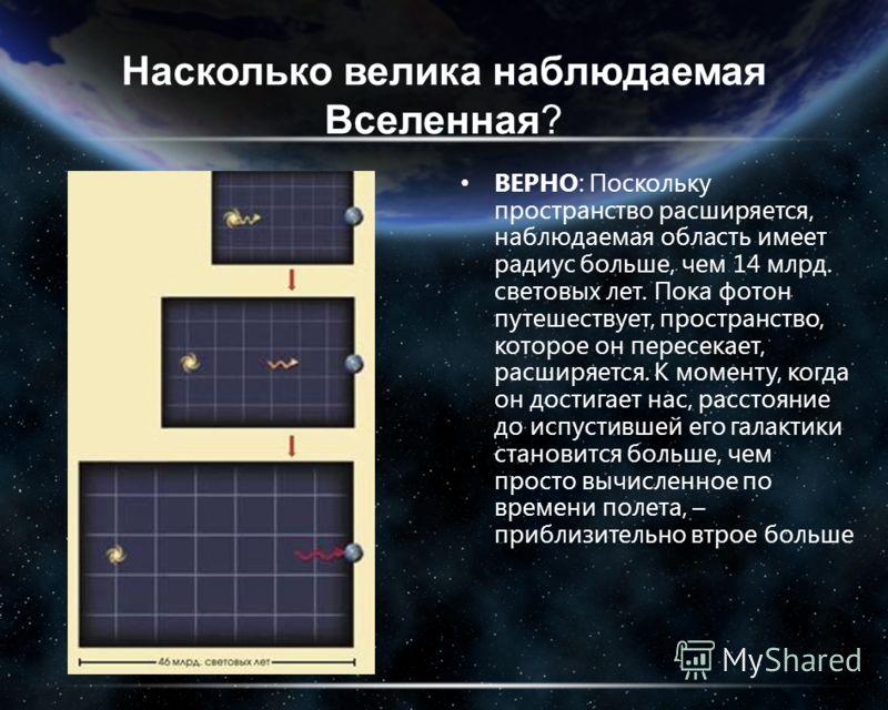 Насколько велика наблюдаемая Вселенная? ВЕРНО: Поскольку пространство расширяется, наблюдаемая область имеет радиус больше, чем 14 млрд. световых лет. Пока фотон путешествует, пространство, которое он пересекает, расширяется. К моменту, когда он дост