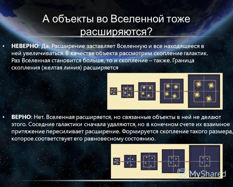 А объекты во Вселенной тоже расширяются? НЕВЕРНО: Да. Расширение заставляет Вселенную и все находящееся в ней увеличиваться. В качестве объекта рассмотрим скопление галактик. Раз Вселенная становится больше, то и скопление – также. Граница скопления