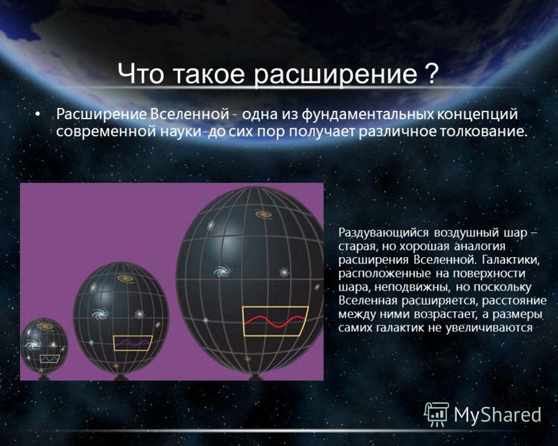 Что такое расширение ? Расширение Вселенной - одна из фундаментальных концепций современной науки-до сих пор получает различное толкование. Раздувающийся воздушный шар – старая, но хорошая аналогия расширения Вселенной. Галактики, расположенные на по