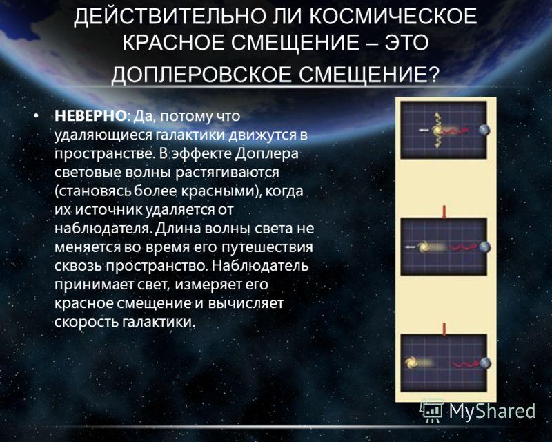 ДЕЙСТВИТЕЛЬНО ЛИ КОСМИЧЕСКОЕ КРАСНОЕ СМЕЩЕНИЕ – ЭТО ДОПЛЕРОВСКОЕ СМЕЩЕНИЕ? НЕВЕРНО: Да, потому что удаляющиеся галактики движутся в пространстве. В эффекте Доплера световые волны растягиваются (становясь более красными), когда их источник удаляется о