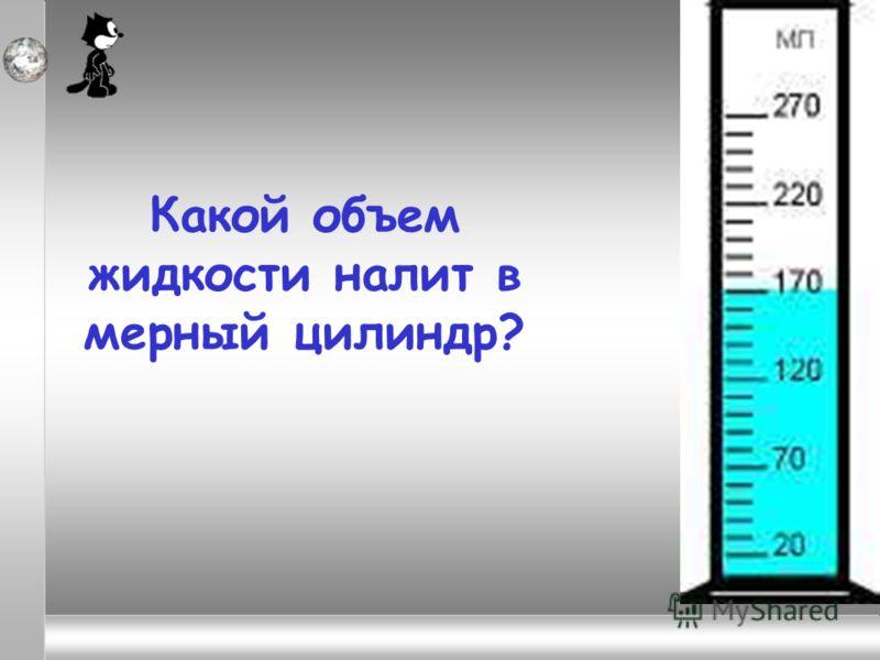Какой объем жидкости налит в мерный цилиндр?