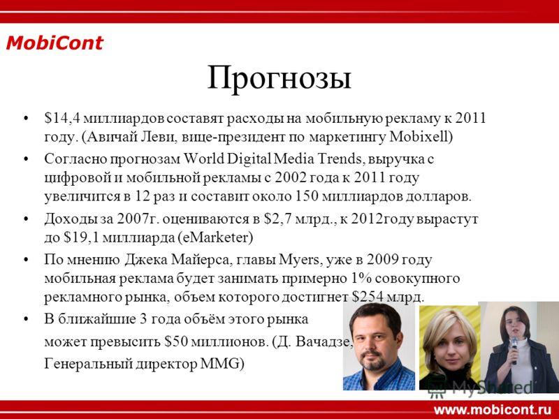 MobiCont www.mobicont.ru Прогнозы $14,4 миллиардов составят расходы на мобильную рекламу к 2011 году. (Авичай Леви, вице-президент по маркетингу Mobixell) Согласно прогнозам World Digital Media Trends, выручка с цифровой и мобильной рекламы с 2002 го