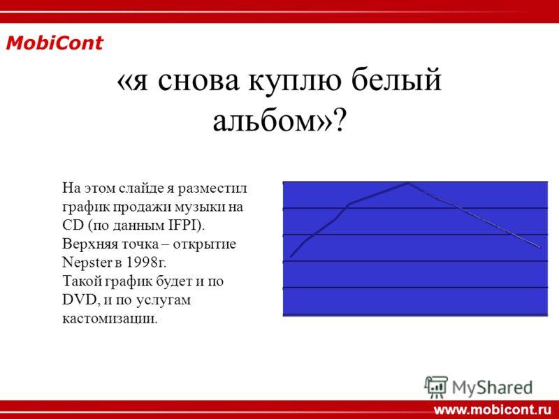 MobiCont www.mobicont.ru «я снова куплю белый альбом»? На этом слайде я разместил график продажи музыки на CD (по данным IFPI). Верхняя точка – открытие Nepster в 1998г. Такой график будет и по DVD, и по услугам кастомизации.