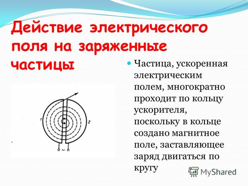 Действие электрического поля на заряженные частицы Частица, ускоренная электрическим полем, многократно проходит по кольцу ускорителя, поскольку в кольце создано магнитное поле, заставляющее заряд двигаться по кругу