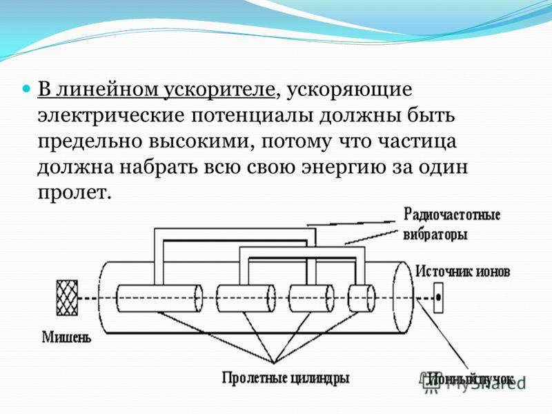 В линейном ускорителе, ускоряющие электрические потенциалы должны быть предельно высокими, потому что частица должна набрать всю свою энергию за один пролет.