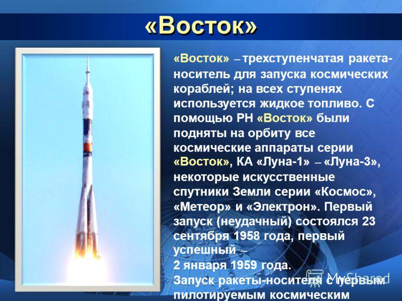 «Восток» «Восток» – трехступенчатая ракета- носитель для запуска космических кораблей; на всех ступенях используется жидкое топливо. С помощью РН «Восток» были подняты на орбиту все космические аппараты серии «Восток», КА «Луна-1» – «Луна-3», некотор