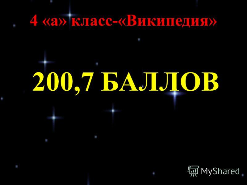 4 «а» класс-«Википедия» 200,7 БАЛЛОВ