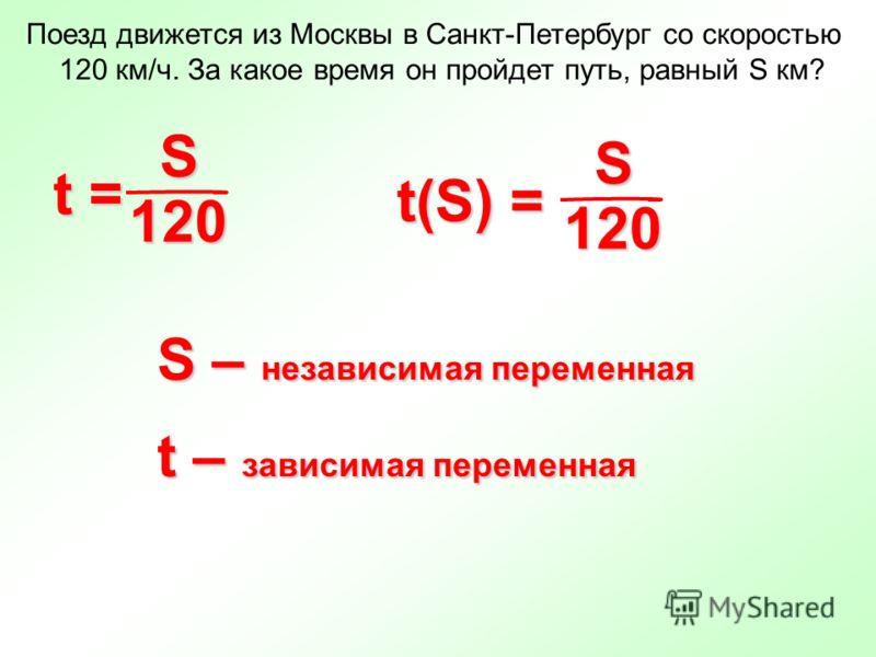 Поезд движется из Москвы в Санкт-Петербург со скоростью 120 км/ч. За какое время он пройдет путь, равный S км? S – независимая переменная t – зависимая переменная 120 t = S 120 t(S) = S