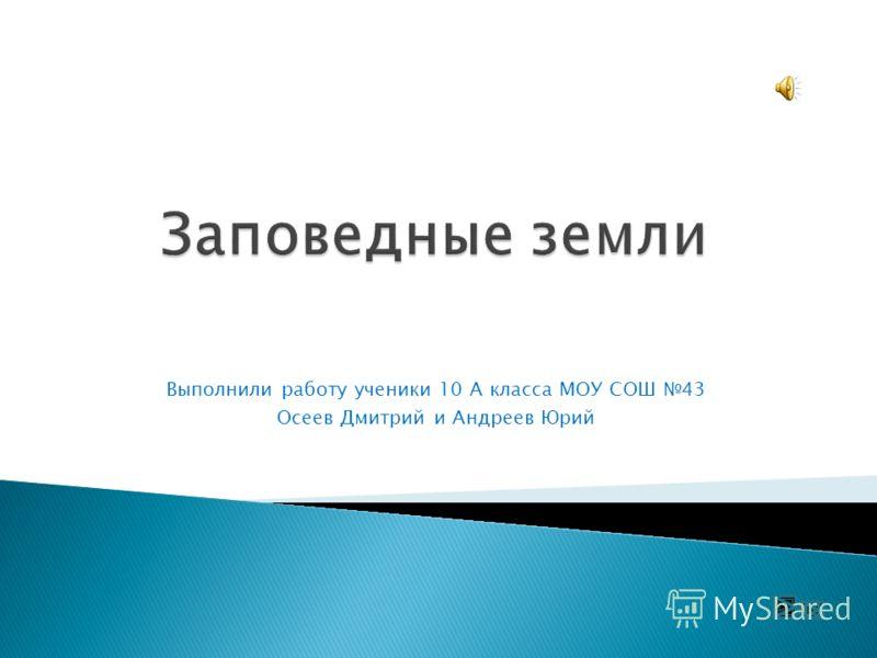 Выполнили работу ученики 10 А класса МОУ СОШ 43 Осеев Дмитрий и Андреев Юрий