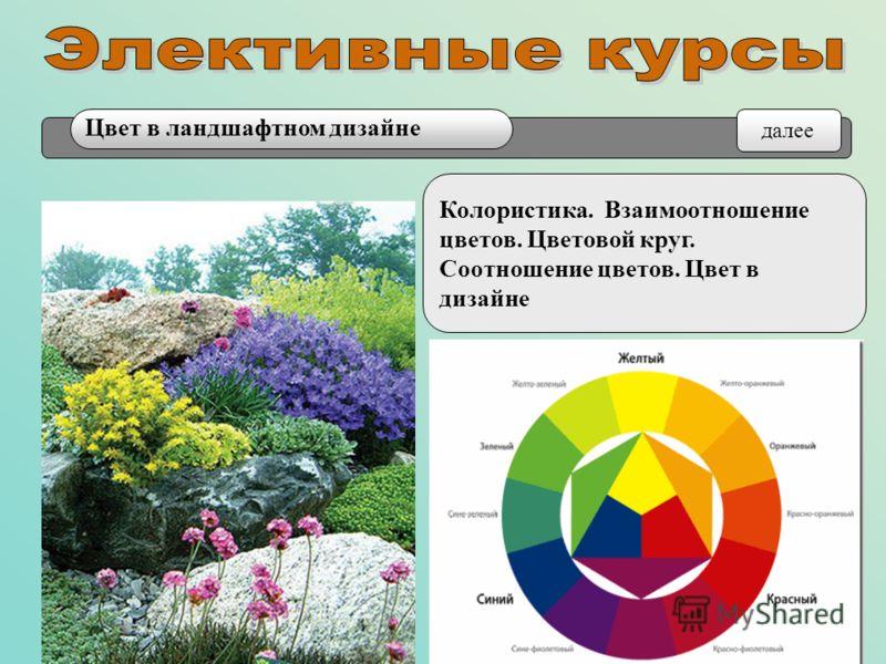 Колористика. Взаимоотношение цветов. Цветовой круг. Соотношение цветов. Цвет в дизайне Цвет в ландшафтном дизайне далее