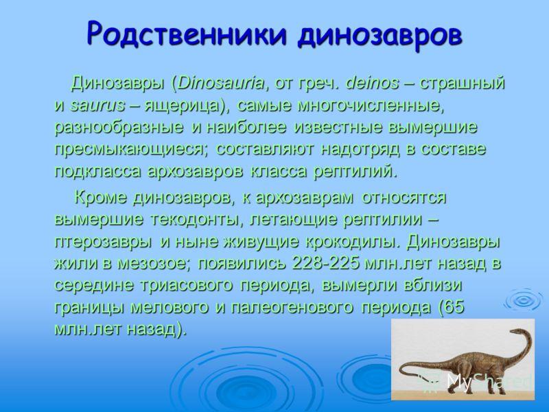 Родственники динозавров Динозавры (Dinosauria, от греч. deinos – страшный и saurus – ящерица), самые многочисленные, разнообразные и наиболее известные вымершие пресмыкающиеся; составляют надотряд в составе подкласса архозавров класса рептилий. Диноз