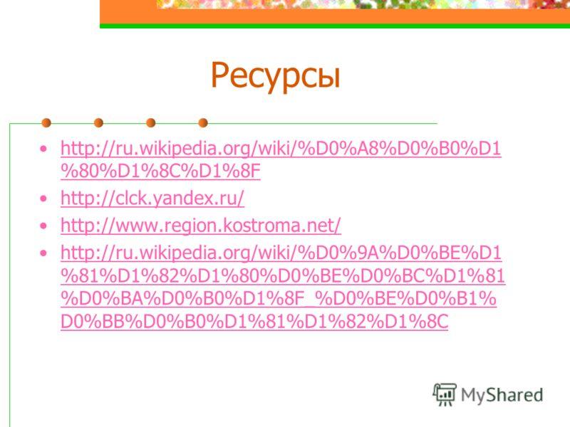 Ресурсы http://ru.wikipedia.org/wiki/%D0%A8%D0%B0%D1 %80%D1%8C%D1%8Fhttp://ru.wikipedia.org/wiki/%D0%A8%D0%B0%D1 %80%D1%8C%D1%8F http://clck.yandex.ru/ http://www.region.kostroma.net/ http://ru.wikipedia.org/wiki/%D0%9A%D0%BE%D1 %81%D1%82%D1%80%D0%BE