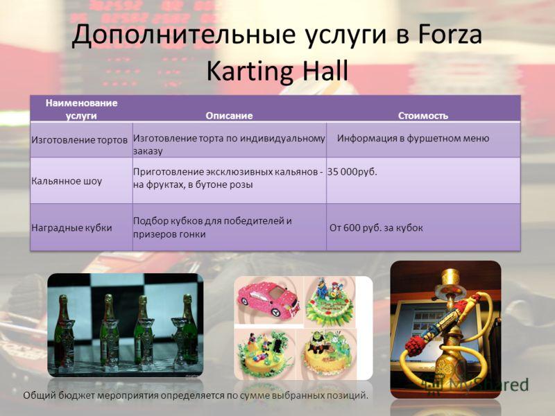 Дополнительные услуги в Forza Karting Hall Общий бюджет мероприятия определяется по сумме выбранных позиций.