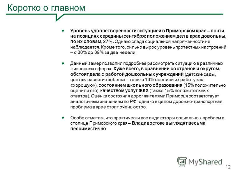 Коротко о главном Уровень удовлетворенности ситуацией в Приморском крае – почти на позициях середины сентября: положением дел в крае довольны, по их словам, 27%. Однако спада социальной напряженности не наблюдается. Кроме того, сильно вырос уровень п