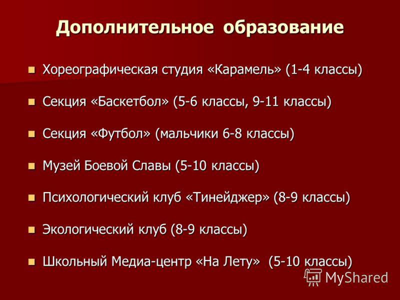 Дополнительное образование Хореографическая студия «Карамель» (1-4 классы) Хореографическая студия «Карамель» (1-4 классы) Секция «Баскетбол» (5-6 классы, 9-11 классы) Секция «Баскетбол» (5-6 классы, 9-11 классы) Секция «Футбол» (мальчики 6-8 классы)