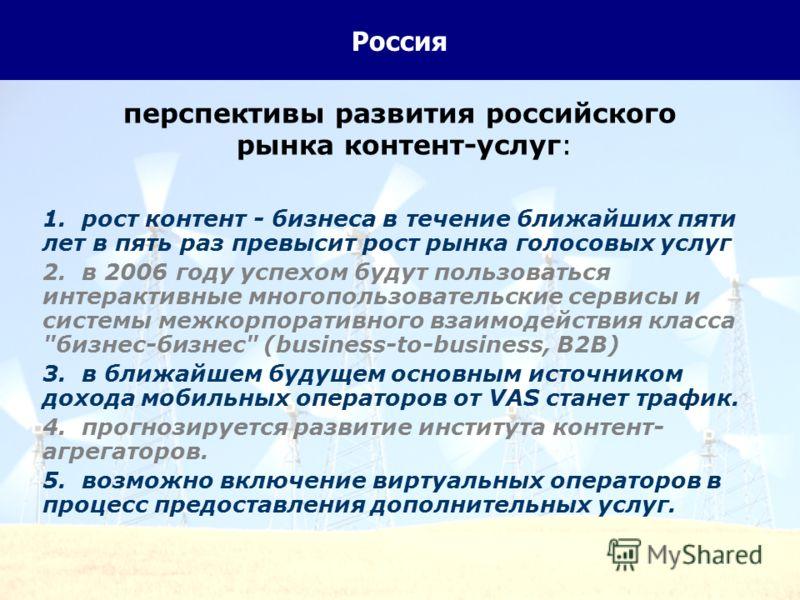 24 Россия перспективы развития российского рынка контент-услуг: 1. рост контент - бизнеса в течение ближайших пяти лет в пять раз превысит рост рынка голосовых услуг 2. в 2006 году успехом будут пользоваться интерактивные многопользовательские сервис