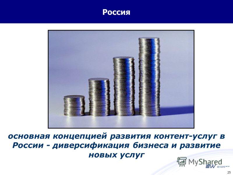 25 Россия основная концепцией развития контент-услуг в России - диверсификация бизнеса и развитие новых услуг