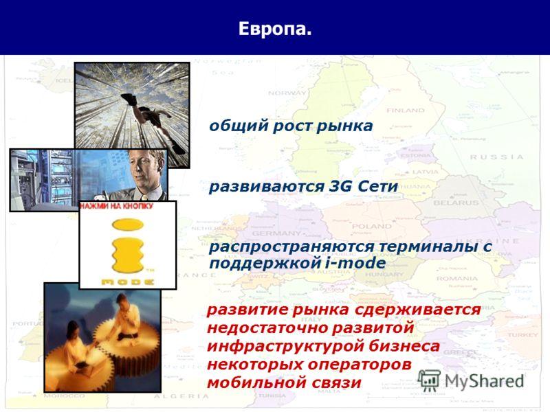 3 Европа. общий рост рынка развиваются 3G Сети распространяются терминалы с поддержкой i-mode развитие рынка сдерживается недостаточно развитой инфраструктурой бизнеса некоторых операторов мобильной связи