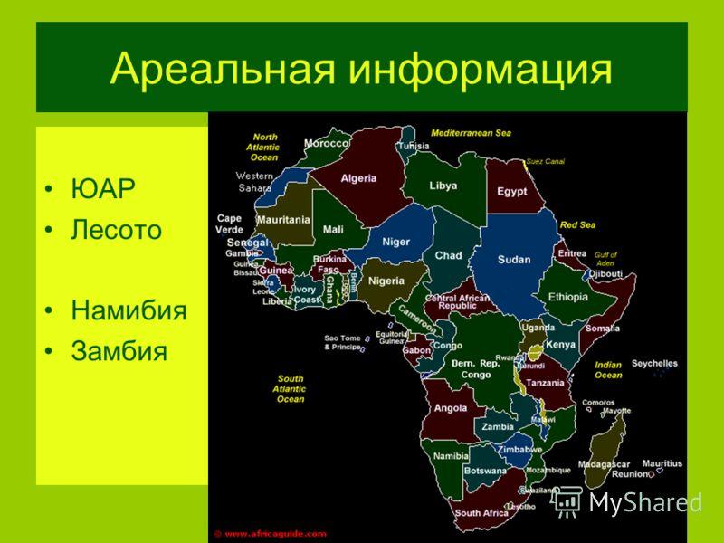 Ареальная информация ЮАР Лесото Намибия Замбия