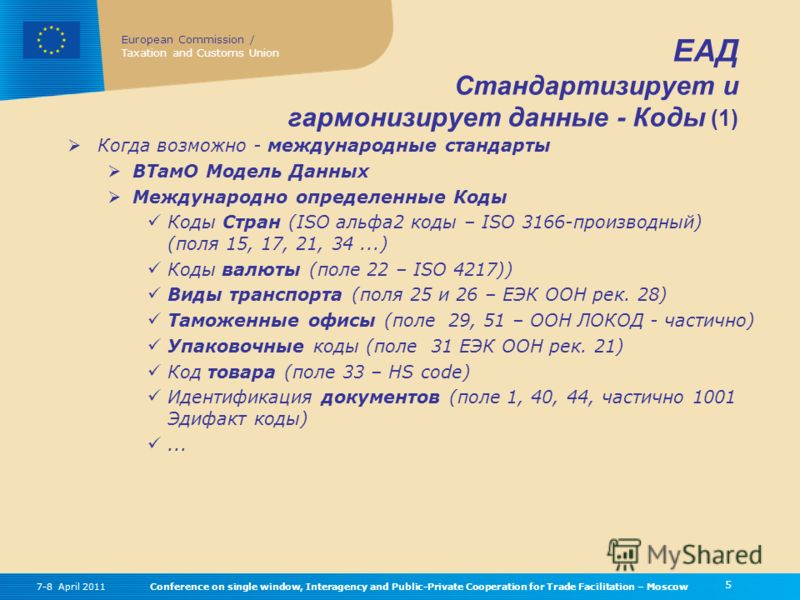 European Commission / Taxation and Customs Union 5 Conference on single window, Interagency and Public-Private Cooperation for Trade Facilitation – Moscow7-8 April 2011 ЕАД Стандартизирует и гармонизирует данные - Коды (1) Когда возможно - международ