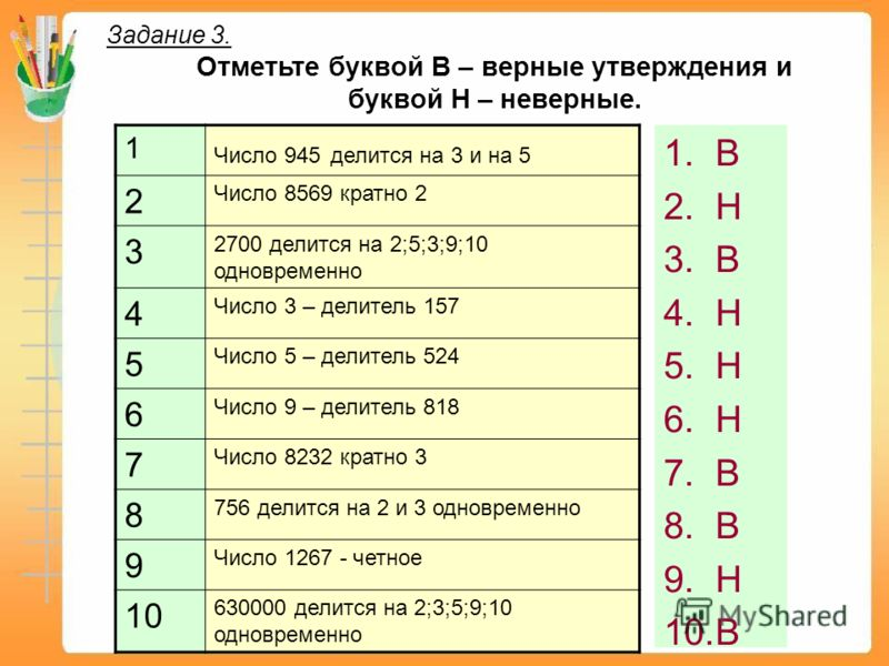 1 Число 945 делится на 3 и на 5 2 Число 8569 кратно 2 3 2700 делится на 2;5;3;9;10 одновременно 4 Число 3 – делитель 157 5 Число 5 – делитель 524 6 Число 9 – делитель 818 7 Число 8232 кратно 3 8 756 делится на 2 и 3 одновременно 9 Число 1267 - четное