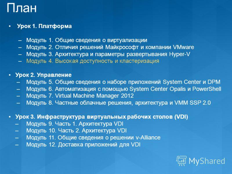 План Урок 1. Платформа – Модуль 1. Общие сведения о виртуализации – Модуль 2. Отличия решений Майкрософт и компании VMware – Модуль 3. Архитектура и параметры развертывания Hyper-V – Модуль 4. Высокая доступность и кластеризация Урок 2. Управление –