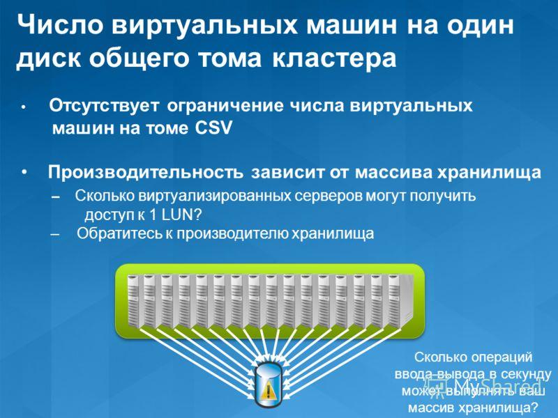 Число виртуальных машин на один диск общего тома кластера Отсутствует ограничение числа виртуальных машин на томе CSV Производительность зависит от массива хранилища – Сколько виртуализированных серверов могут получить доступ к 1 LUN? – Обратитесь к