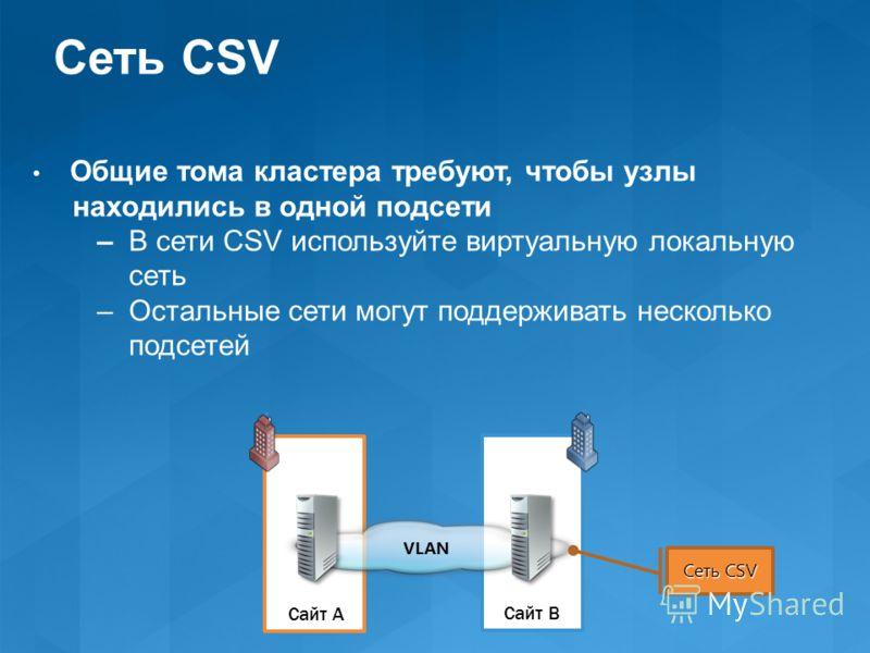 Сайт A Сайт B VLAN Сеть CSV Общие тома кластера требуют, чтобы узлы находились в одной подсети – В сети CSV используйте виртуальную локальную сеть – Остальные сети могут поддерживать несколько подсетей