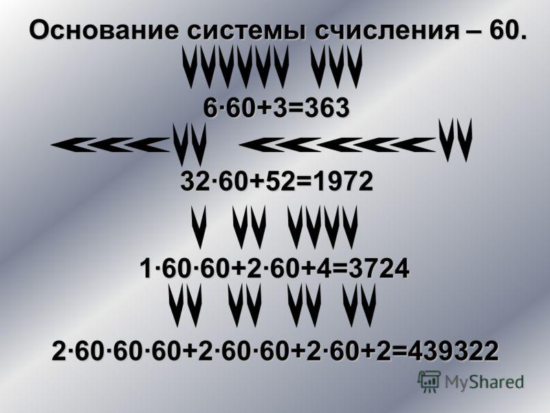 6·60+3=363 Основание системы счисления – 60. 32·60+52=1972 1·60·60+2·60+4=3724 2·60·60·60+2·60·60+2·60+2=439322