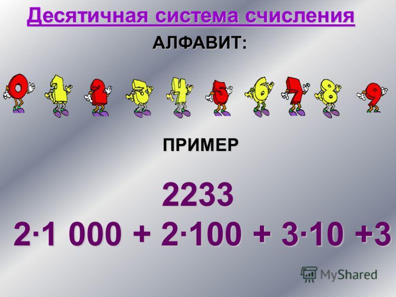 Десятичная система счисления АЛФАВИТ: ПРИМЕР 2233 2·1 000 + 2·100 + 3·10 +3