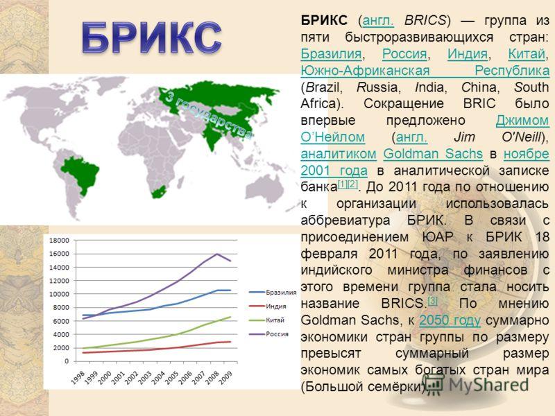 БРИКС (англ. BRICS) группа из пяти быстроразвивающихся стран: Бразилия, Россия, Индия, Китай, Южно-Африканская Республика (Brazil, Russia, India, China, South Africa). Сокращение BRIC было впервые предложено Джимом ОНейлом (англ. Jim O'Neill), аналит
