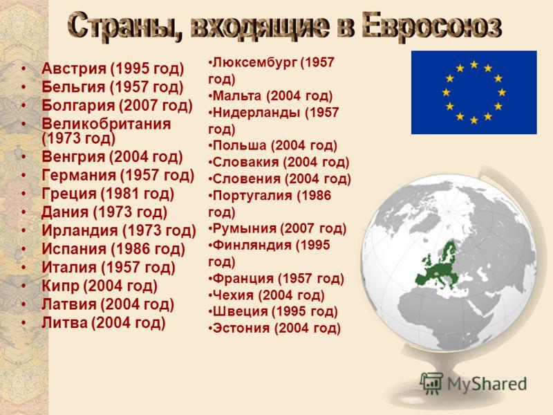 Австрия (1995 год) Бельгия (1957 год) Болгария (2007 год) Великобритания (1973 год) Венгрия (2004 год) Германия (1957 год) Греция (1981 год) Дания (1973 год) Ирландия (1973 год) Испания (1986 год) Италия (1957 год) Кипр (2004 год) Латвия (2004 год) Л