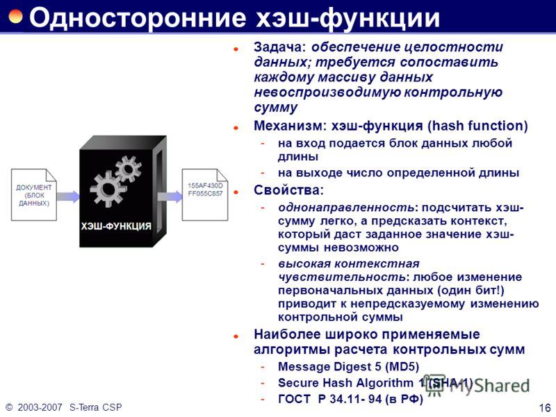 © 2003-2007 S-Terra CSP 16 Односторонние хэш-функции Задача: обеспечение целостности данных; требуется сопоставить каждому массиву данных невоспроизводимую контрольную сумму Механизм: хэш-функция (hash function) на вход подается блок данных любой дл