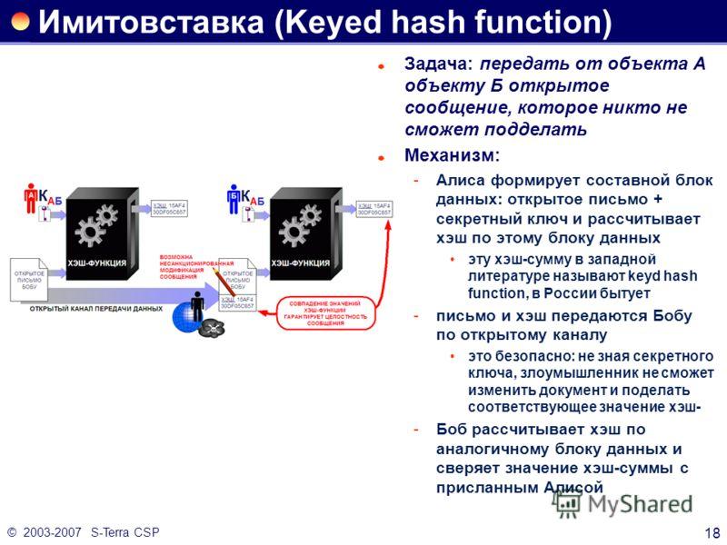 © 2003-2007 S-Terra CSP 18 Имитовставка (Keyed hash function) Задача: передать от объекта А объекту Б открытое сообщение, которое никто не сможет подделать Механизм: Алиса формирует составной блок данных: открытое письмо + секретный ключ и рассчитыв