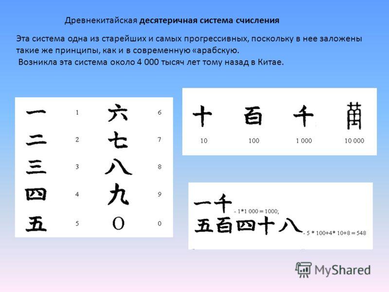 Древнекитайская десятеричная система счисления Эта система одна из старейших и самых прогрессивных, поскольку в нее заложены такие же принципы, как и в современную «арабскую. Возникла эта система около 4 000 тысяч лет тому назад в Китае.