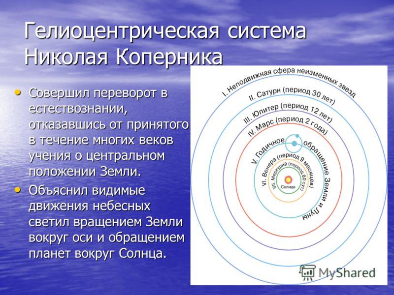 Гелиоцентрическая система Николая Коперника Совершил переворот в естествознании, отказавшись от принятого в течение многих веков учения о центральном положении Земли. Совершил переворот в естествознании, отказавшись от принятого в течение многих веко