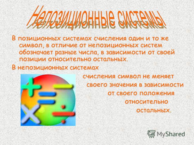 В позиционных системах счисления один и то же символ, в отличие от непозиционных систем обозначает разные числа, в зависимости от своей позиции относительно остальных. В непозиционных системах счисления символ не меняет счисления символ не меняет сво