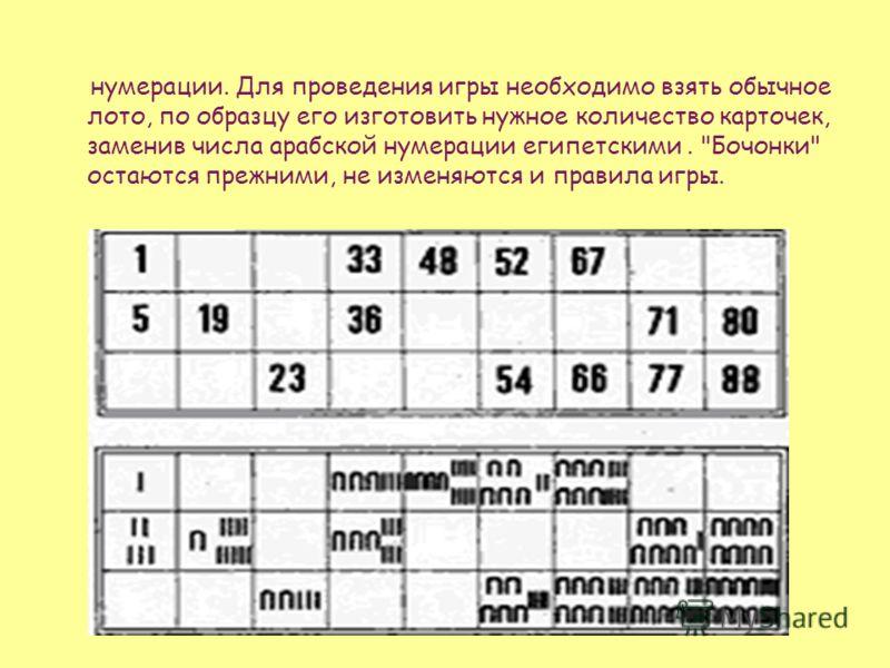 нумерации. Для проведения игры необходимо взять обычное лото, по образцу его изготовить нужное количество карточек, заменив числа арабской нумерации египетскими. Бочонки остаются прежними, не изменяются и правила игры.