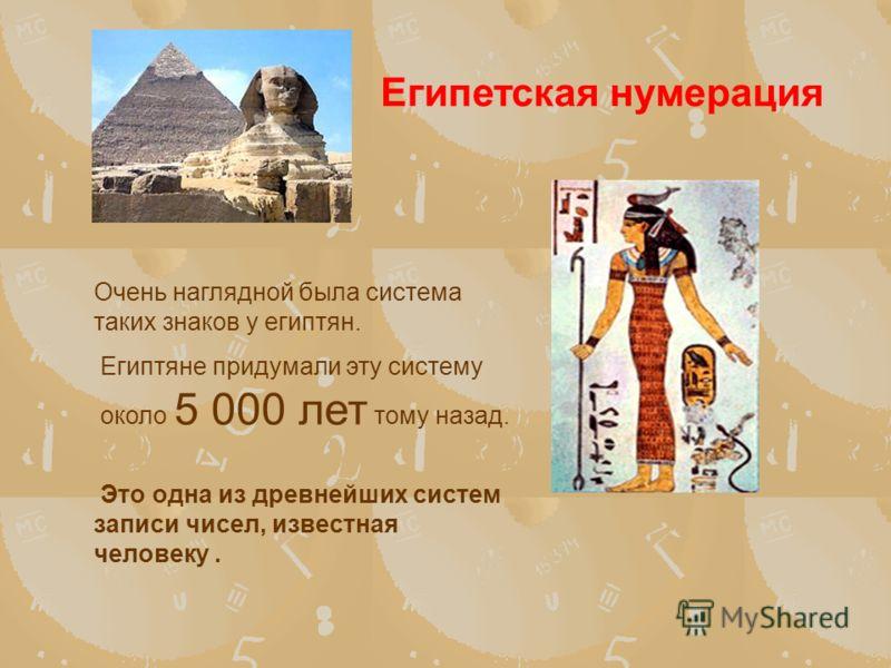 Очень наглядной была система таких знаков у египтян. Египтяне придумали эту систему около 5 000 лет тому назад. Это одна из древнейших систем записи чисел, известная человеку. Египетская нумерация
