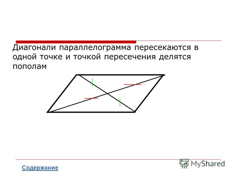 Диагонали параллелограмма пересекаются в одной точке и точкой пересечения делятся пополам Содержание