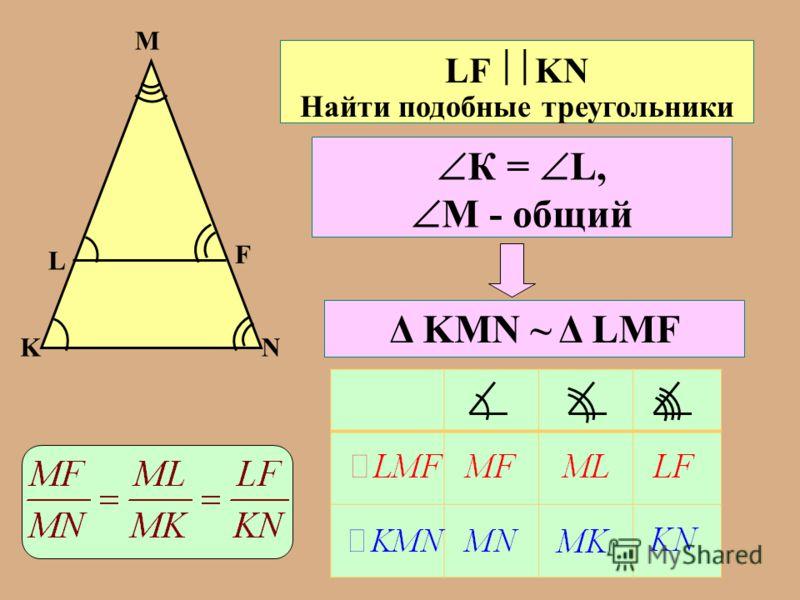 K L M F N LF KN Найти подобные треугольники К = L, М - общий Δ KMN ~ Δ LMF