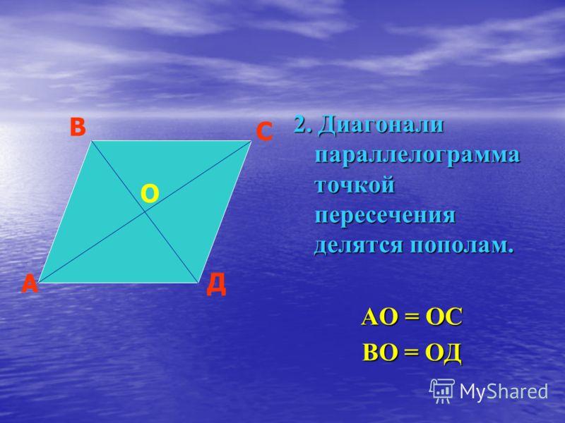 2. Диагонали параллелограмма точкой пересечения делятся пополам. АО = ОС ВО = ОД А В С Д О
