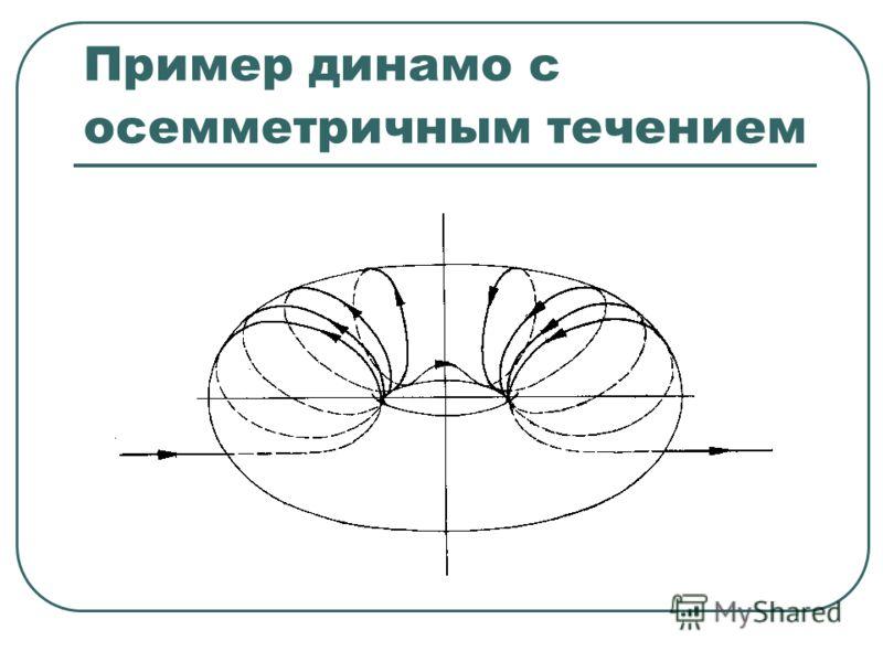Пример динамо с осемметричным течением